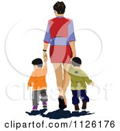 Clipart Of A Mother Holding Hands And Walking With Twins Royalty Free Vector Illustration by leonid
