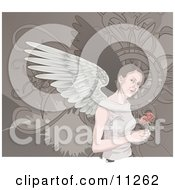 Angelic Woman With Wings Holding Roses Clipart Illustration by AtStockIllustration