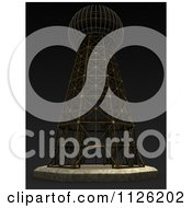 Clipart Of A 3d Tesla Transmitter Tower On Black Royalty Free CGI Illustration