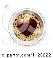 Clipart Of A View Down On A Coffee Cup With A Heart In The Froth Royalty Free Vector Illustration by michaeltravers