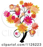 Clipart Of A Tree With Swirl Branches And Flowers Royalty Free Vector Illustration