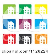Clipart Of Colorful House Icons Royalty Free Vector Illustration