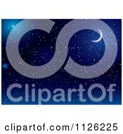 Clipart Of A Crescent Moon In A Dark Blue Starry Night Sky Royalty Free Vector Illustration by michaeltravers