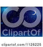 Crescent Moon In A Dark Blue Starry Night Sky