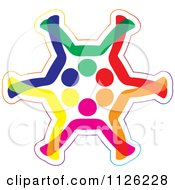 Abstract Colorful Diverse People Forming A Snowflake