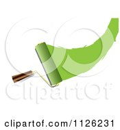 Clipart Of A Roller Paint Brush With A Swoosh Of Green Royalty Free Vector Illustration by michaeltravers