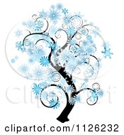 Clipart Of A Tree With Swirl Branches And Snowflakes Royalty Free Vector Illustration