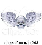 Human Skull With Feathered Wings Spanning Clipart Illustration by AtStockIllustration