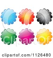 Clipart Of Shiny Colorful Flower Icons Royalty Free Vector Illustration by Andrei Marincas
