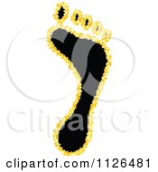 Clipart Of A Black Human Footprint With Yellow Bubbles Royalty Free Vector Illustration by Andrei Marincas