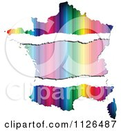Clipart Of A Map Of France With Copyspace And Colorful Stripes Royalty Free Vector Illustration by Andrei Marincas