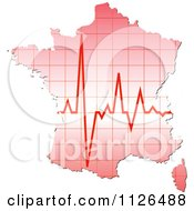 Clipart Of A Map Of France With A Pulse Royalty Free Vector Illustration by Andrei Marincas