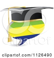 Clipart Of A 3d Graduation Gabon Flag Chat Balloon Royalty Free Vector Illustration by Andrei Marincas