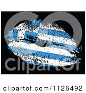 Clipart Of A Greek Flag Kiss On Black Royalty Free Vector Illustration by Andrei Marincas