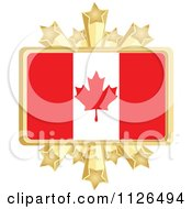 Clipart Of A Canadian Flag With A Golden Stars Frame Royalty Free Vector Illustration