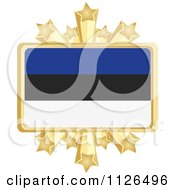 Clipart Of An Estonia Flag With A Golden Stars Frame Royalty Free Vector Illustration