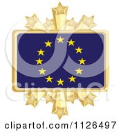 Clipart Of A European Flag With A Golden Stars Frame Royalty Free Vector Illustration by Andrei Marincas