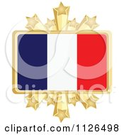 Clipart Of A French Flag With A Golden Stars Frame Royalty Free Vector Illustration by Andrei Marincas