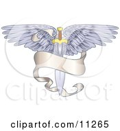 Winged Sword With A Banner