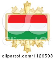 Clipart Of A Hungarian Flag With A Golden Stars Frame Royalty Free Vector Illustration