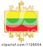 Clipart Of A Lithuanian Flag With A Golden Stars Frame Royalty Free Vector Illustration