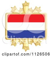 Clipart Of A Netherlands Flag With A Golden Stars Frame Royalty Free Vector Illustration by Andrei Marincas