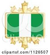 Clipart Of A Nigerian Flag With A Golden Stars Frame Royalty Free Vector Illustration