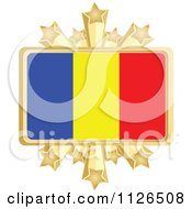 Clipart Of A Romanian Flag With A Golden Stars Frame Royalty Free Vector Illustration