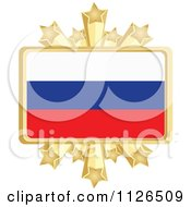 Clipart Of A Russian Flag With A Golden Stars Frame Royalty Free Vector Illustration by Andrei Marincas