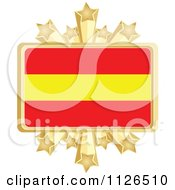 Clipart Of A Spanish Flag With A Golden Stars Frame Royalty Free Vector Illustration