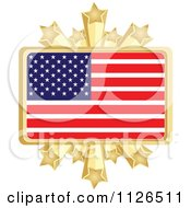 Clipart Of An American Flag With A Golden Stars Frame Royalty Free Vector Illustration