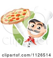 Cartoon Of A Happy Pizzeria Chef Holding Up A Pizza Royalty Free Vector Clipart by TA Images