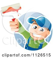 Cartoon Of A Happy House Painter Worker Holding Up A Brush Royalty Free Vector Clipart by TA Images #COLLC1126515-0125