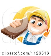Cartoon Of A Happy Carpenter Carrying Lumber Royalty Free Vector Clipart
