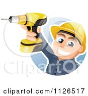 Cartoon Of A Happy Construction Worker Holding Up A Power Drill Royalty Free Vector Clipart