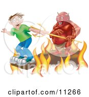 Scared Boy Standing At The Edge Of A Plank Above The Fires Of Hell A Devil Holding A Pitchfork Behind Him Clipart Illustration by AtStockIllustration