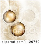 Clipart Of 3d Golden Christmas Ornaments Over Snowflakes Royalty Free Vector Illustration