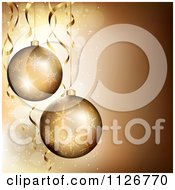 3d Golden Christmas Ornaments Over Sparkles