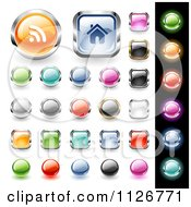 Clipart Of 3d Colorful Website Icon Button Design Elements Royalty Free Vector Illustration