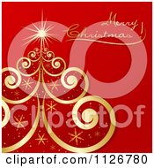 Clipart Of A Gold Swirl And Snowflake Tree And Merry Christmas Text On Red Royalty Free Vector Illustration