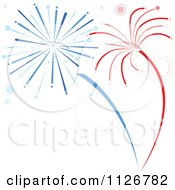 Red And Blue Firework Bursts