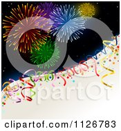 Clipart Of New Year Holiday Fireworks And Party Ribbons Royalty Free Vector Illustration