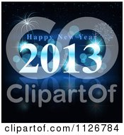 Clipart Of A Blue Happy New Year 2013 Firework Background Royalty Free Vector Illustration