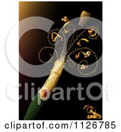 Clipart Of A Cork Flying Off Of A Bottle Of Champagne With Ribbons Royalty Free Vector Illustration by dero