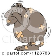 Cartoon Of A Battered Dog Covered In Bandages Royalty Free Vector Clipart by djart