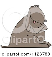 Cartoon Of A Stubborn Dog With Folded Arms Royalty Free Vector Clipart