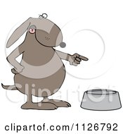 Cartoon Of An Angry Dog Pointing To An Empty Food Bowl Royalty Free Vector Clipart