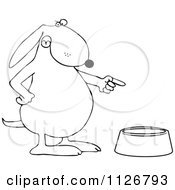 Cartoon Of An Outlined Angry Dog Pointing To An Empty Food Bowl Royalty Free Vector Clipart
