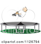 Cartoon Of A Boy Hugging His Knees In The Air Over A Trampoline Royalty Free Vector Clipart