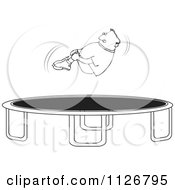 Cartoon Of An Outlined Boy Hugging His Knees In The Air Over A Trampoline Royalty Free Vector Clipart